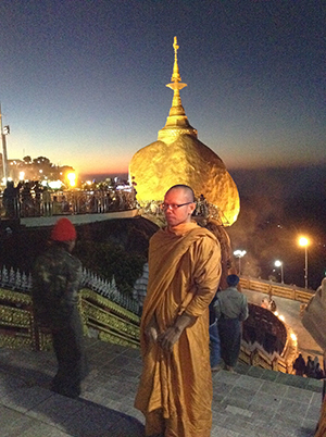 Kyaiktiyo mountaintop pagoda in Myanmar with Thai monastic friend
