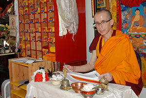 Losang Tsering reading the Chakrasamvara Root Tantra, which has been published by Dechen Ling Press