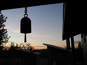 The bell in the south cloister at sunrise