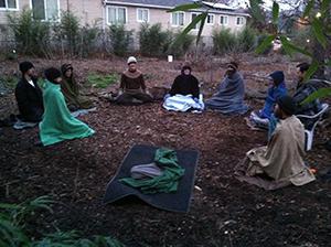 Sunday practice gathering at Kailash Ecovillage