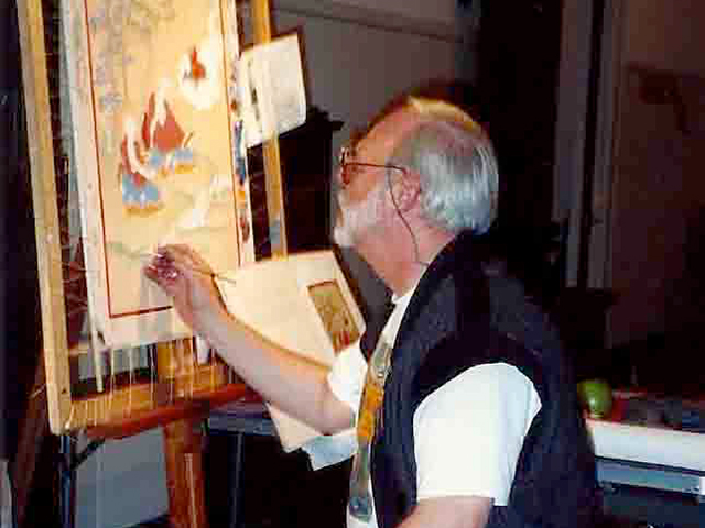 Sanje Elliott painting during the Tibet exhibition at the Portland Art Museum, 1993