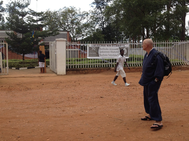 Genjo Marinello at a Rwanda genocide site, a former Catholic Church