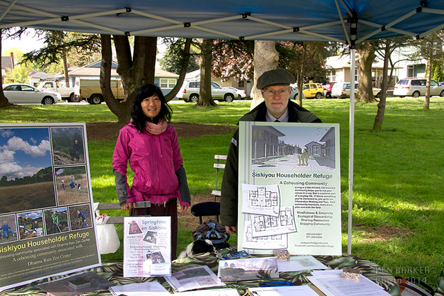 Betty Huang and Jeff Stooky staff a Siskiyou outreach table on Earth Day
