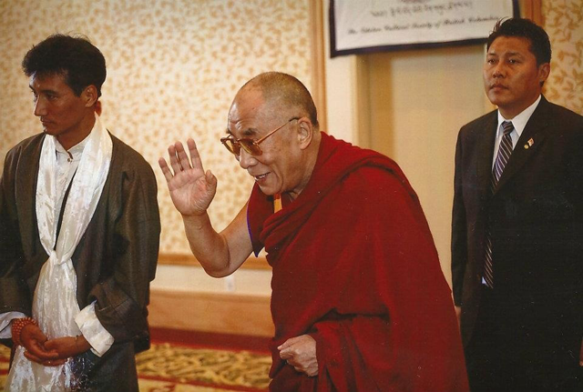 His Holiness the Dalai Lama greeting people during his 2009 trip to Vancouver