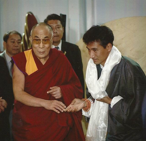 A moment with His Holiness and Tenzin Gyurme, president of the Tibetan Cultural Society of British Columbia