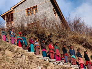 Our students line up to welcome us to the school and living quarters, Simikot, Nepal, 2013