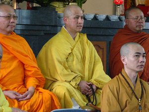 Monks during the service