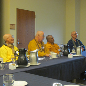 Monastics and teachers among the leaders at the event included Thay Kim, from Seattle's Co Lam Vietnamese temple; Bhante Dewananda, (third over), a Sri Lankan monk; and Genjo Marinello, a Zen teacher