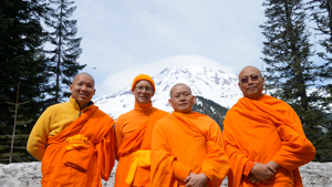 A visit to Mt. Rainier the day after ordination. From left to right: Sontidpanya, Baumgartner, Ven. Pormov and Ven. Manikanto