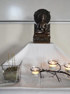 The altar at the Thursday evening Buddhist practice session at JBLM