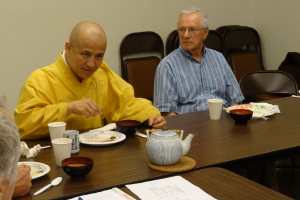 Taijo Sensei, abbot of Seattle Koyasan, and Joseph Romero, who sits on the board of Atammayatarama Buddhist Monastery in Woodinville, Washington