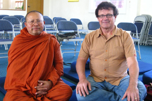 Northwest Dharma Association President Tim Tapping, with Atammayatarama Monastery Ajahn Ritthi, at the Vesak event earlier this year
