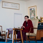 Dzogchen Ponlop Rinpoche teaching students at Nalanda West, Mitra Dean Tyler Dewar translating