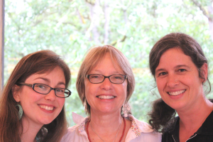 Teacher Jenny Goodlett, Principal Susan Nakaba, and assistant Diana Hoffman