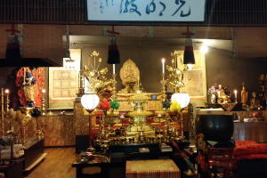 The temple's traditional Vajrayana practice hall, immediately adjacent to the new dojo