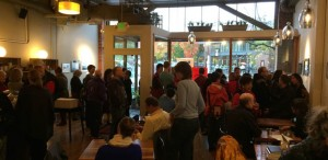 The Seattle opening of Amy Darling's art at Miro Tea attracted nearly 100 people, despite the cold and wet