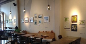 Amy Darling's watercolors on the wall of the Miro Tea