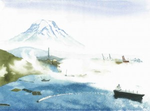 A dreamlike representation of Mt. Rainier, across fog-shrouded Commencement Bay in Tacoma, Washington