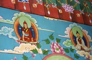 Wall painting of famous Tibetan masters Longchen Rabjam and Jigme Lingpa, taken at Tsogyel Latso Temple in Tibet
