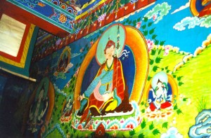 Wall Painting of Padmasambhava, the founder of Tibetan Buddhism, at Tsogyel Latso Temple in Tibet