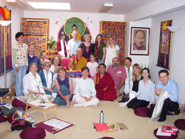 Jhado Rinpoche, Geshe Tashi and Dharma Friendship Foundation (DFF) members at a former practice center in the Magnolia neighborhood of Seattle in 2008.