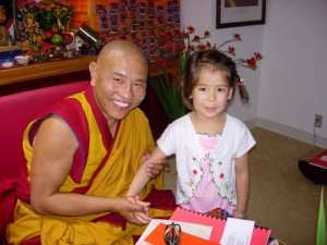 Jhado Rinpoche with a young student, 2008