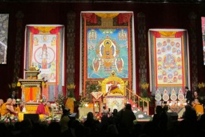 Organizers assembled a vast and traditional setting for His Holiness, on stage