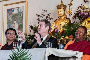 """Nalanda West celebrated its 10th birthday with a Nov. 16, 2014, """"Awake in Seattle"""" public event. Left to right: panelists Dzogchen Ponlop Rinpoche, John Tarrant Roshi, and Ven. Pannavati"""