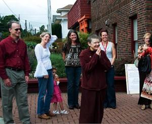 Pema Chodron visits Nalanda West in 2009, when the organization sponsored her teachings at the University of Washington
