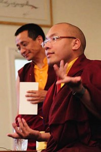Dzoghen Ponlop Rincpoche, left, with the 17th Karmapa during the latter's May, 2008 Seattle visit