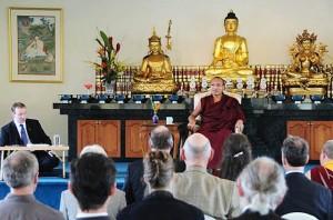 The 17th Karmapa gives a teaching in Nalanda West's shrine room in 2008