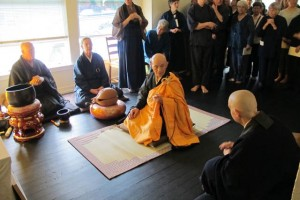 Harada Roshi, center, leads the opening ceremony of the zendo in May