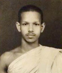 A 20-year-old Pangnananda, after receiving his higher ordination in 1974