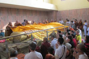Pilgrims come to venerate the 15-foot statue of the reclining Buddha, and to drape it with beautiful shawls