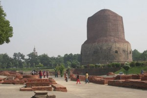 The great stupa at Sarnath, where the Buddha first taught after his awakening.