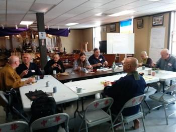 Seattle meeting participants included (from left): Kanjin Cedarman, Eshin Godfrey, Ann Tjhung, Kathy Adams, Mark Winwood, Genjo Marinello, Guo Cheen, and Timothy O'Brien