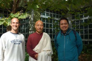 Anam Thubten (middle), with event organizers Ed Bland (left) and Chris Charles (right)