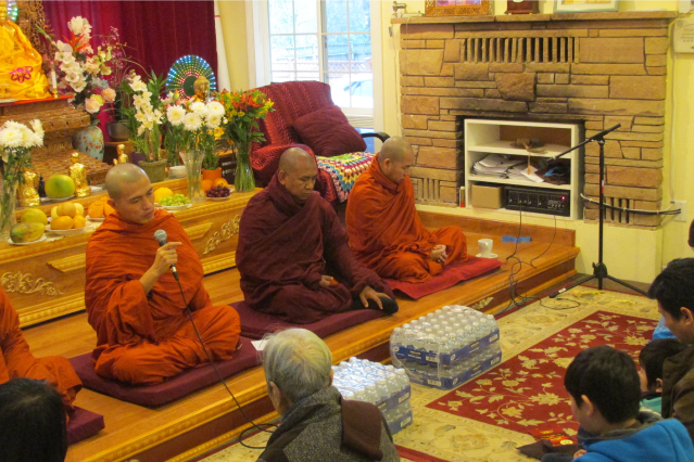 Four monks, three of them visiting the area, offer teachings to Burmese people on a recent weekend.