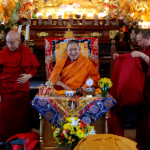 H.E. Garchen Rinpoche and his two attendants, Lama Bunima and Lama Abao at the Sakya Monastery in 2013. This was the first event organized by Drikung Seattle and the year of its founding.