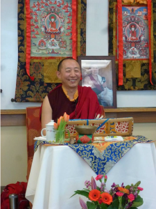 Lama Abao, H.E. Garchen Rinpoche's attendant and Drikung Seattle's future resident teacher, teaching the 37 Practices of Bodhisattvas at the Senior Center of West Seattle. January, 2015.