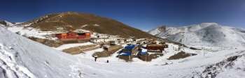 Kilung Monastery, in the snow of the Tibetan Himalayas.