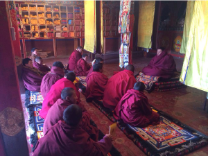 Shedra class studying the Thirty-Seven Practices of the Way of the Bodhisattva