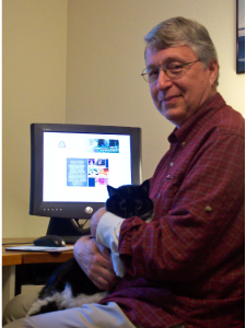 David and his cat Samantha, working on the Northwest Dharma Association website.