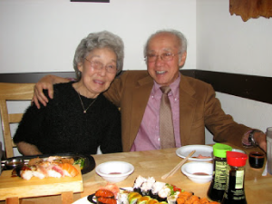 Alice Unno and Rev. Taitetsu Unno celebrate their anniversary in 2008, at a sushi restaurant.