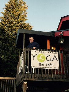 Group Leader Peter Allen on the balcony of the yoga studio where Issaquah Shambhala meets weekly for meditation instruction and dharma talks