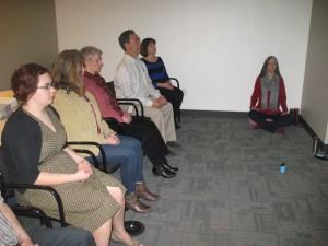 Guided meditation. Left to right, Tracy Brunsman, Renae Martin, Vicky McKay, Larry Iwafuchi, unidentified, Kelly Hunter