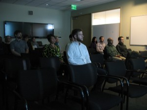 Expedians, including Scott Barney, Rame Chitturi and Joni Vanderburg, attending an Introduction to Mindfulness presentation