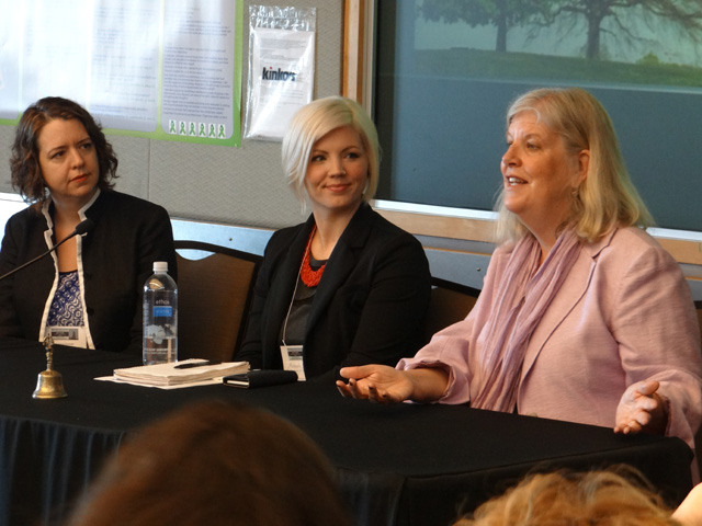A panel fields questions from the audience. Shown (left to right): Larissa Duncan (University of California, San Francisco), Miranda Sitch (University of Washington), Barbara Burns (Santa Clara University)