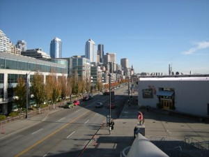 The view into Seattle's downtown, from the Bell Harbor International Conference Center
