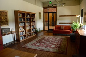 The foyer includes a library, and a place to read